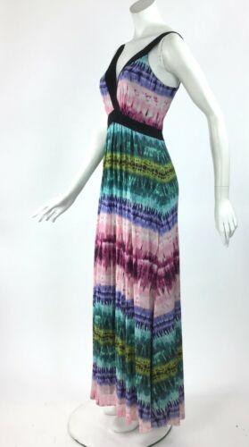 Elana Kattan Sleeveless Crossover Tie Dye Boho Empire Long Print Dress NWT