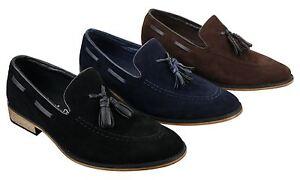 revendeur ea269 00b1c Détails sur Chaussures italiennes mocassins hommes daim pompon sans lacets  bleu noir marron