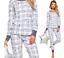 Damen Pyjama Schlafanzug Nachtwäsche 100/% Baumwolle 2-Farben leicht warm