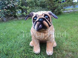 pug dog bulldog 47cmh real life size soft toy plush new tagged ebay. Black Bedroom Furniture Sets. Home Design Ideas