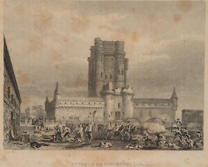 ROUX-Schlachtenszene-Angriff-auf-Schloss-Vincennes-in-Paris-19-Jh-Stahl