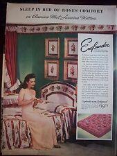 1943 Vintage Englander Bodyguard Bed Mattress Woman Pink Lingerie Gown Ad