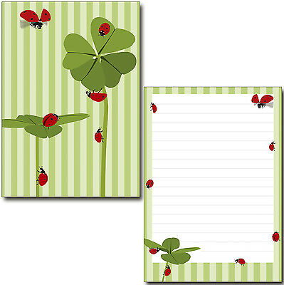 20 Kuverts C6 Symbole des Glücks Klee  Set Motivpapier Briefpapier 50 Blatt A5