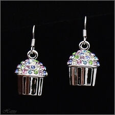 Mini Cupcake Baker Cake Drop Earring Fashion Jewel Austrian Crystal Multicolor