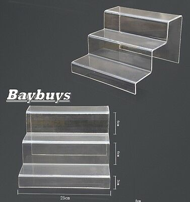 1x Clear Acrylic 3-tier Steps Display Riser Stand Jewelry Gifts Showcase LARGE