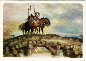 1957-Russian-postcard-Folk-Tale-Bogatyrs-Horses-Kalinov-Bridge-by-N-Kochergin