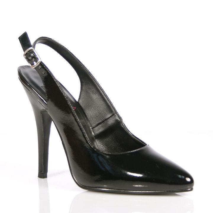 Elegante Pleaser High Heels Slingpumps Seduce-317 schwarz Lack Übergrößen 35-46