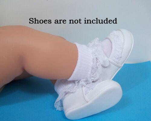 1pr WHITE Lace Anklets Doll Socks For Lee Middleton Toddler One pair Debs