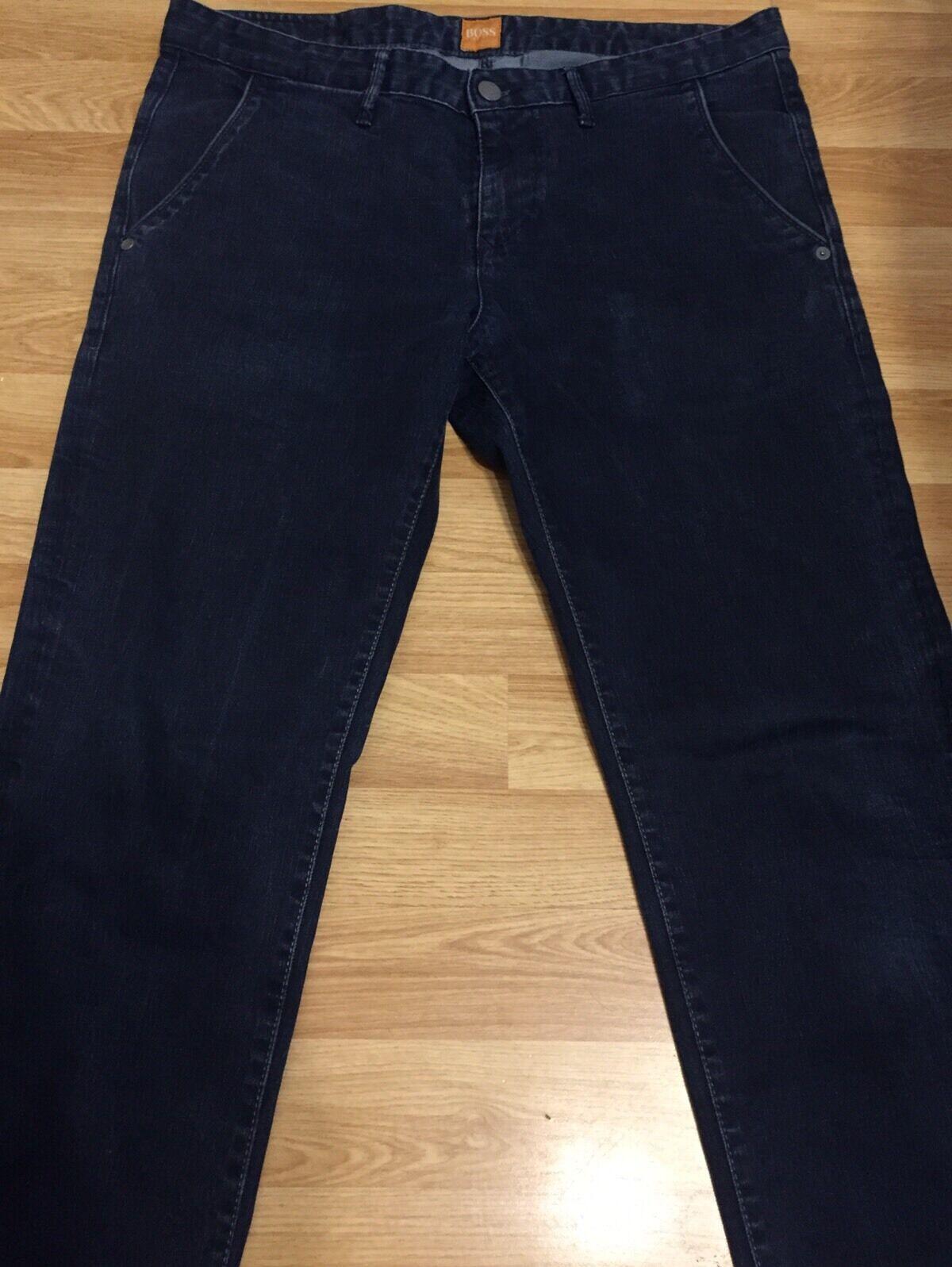 LUXURY HUGO BOSS orange MEN JEANS DENIM TROUSER PANTS blueE W35 L39 IL30 RRP