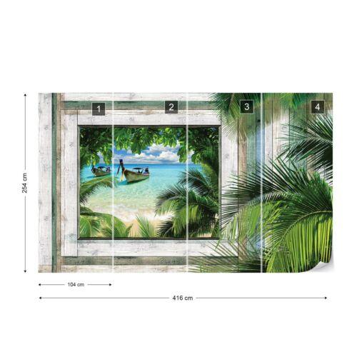 Papier peint photo Papier Peint Art Décoration facile installer Polaire Bateau Fenêtre en bois Océan