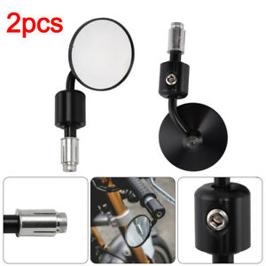 2pcs-Motorcycle-Bar-End-Mirrors-Bike-Motorbike-Rearview-Black-Round-Universal-UK