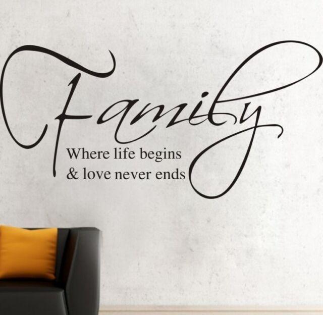 Family Where Life Begins Wall Decor Removable Vinyl Decal Sticker Art DIY Mural