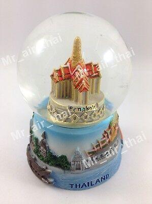 Green Giants Wat Arun Snow Globe 3D Art Glass Paper Weight Souvenir Gift Vintage