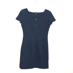Ann Taylor Women's Dark Navy Blue Mini Shift Dress size 6 Cap Short Sleeve AiK