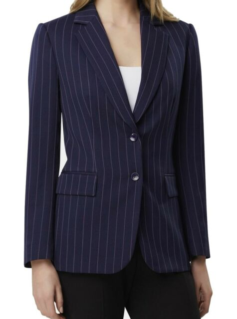 Tahari By ASL Women Blazer Blue Size 10P Petite Pinstripe Button Front $139 #411
