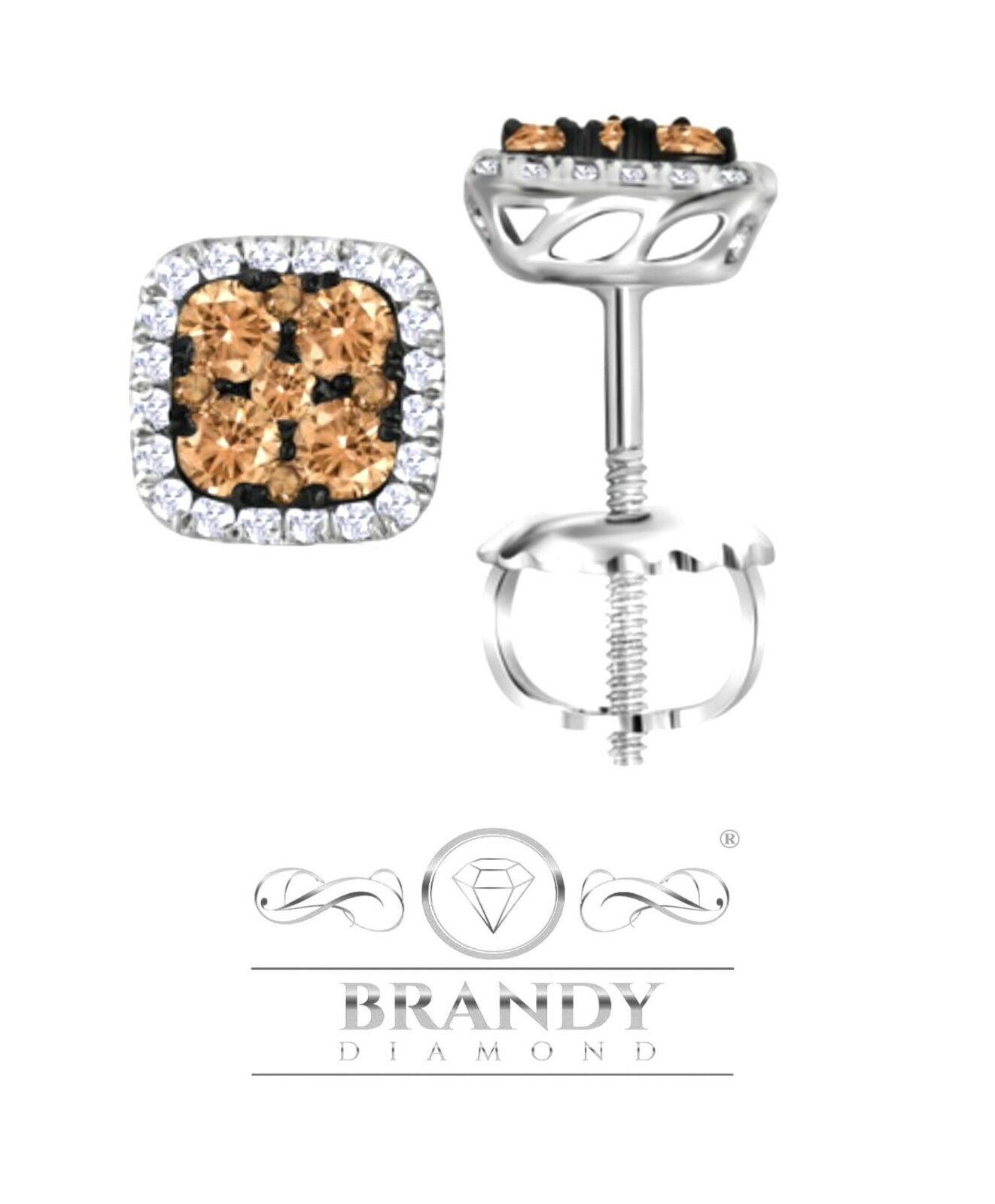 Brandy Diamond® Chocolate Brown 14K White gold Outstanding Stud Earrings 1.00 CT