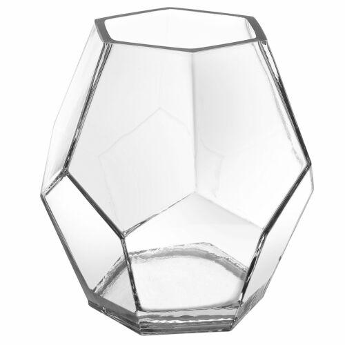"5/"" Clear Glass Hexagon Flower Vase Small Elegant Table Top Centerpiece Decor New"