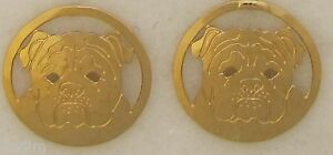 Bulldog Jewelry Gold  Face Post Earrings by Touchstone