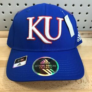 University of Kansas Jayhawks NCAA Adidas Stretch Fit Size S/M Cap NWT Blue Hat