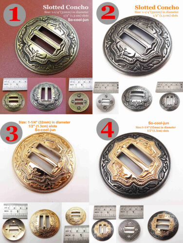 """【KBS01】6pcs Leather Craft 1-1//4/"""" Slotted Conchos 2-Tone Saddle Tack Belt Button"""