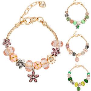 Golden-European-Diamante-Bracelet-Charms-Flower-Pink-Green-Candy-Rhinestone-Kids