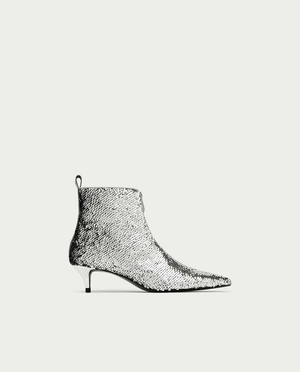 RARE Zara New AW17 Sequinned High Heel Ankle Boots Size 6.5 NWT