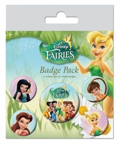 Disney Official Fairies Set Of 5 Badge Pack Pin Princess Tinkerbell Peter Pan