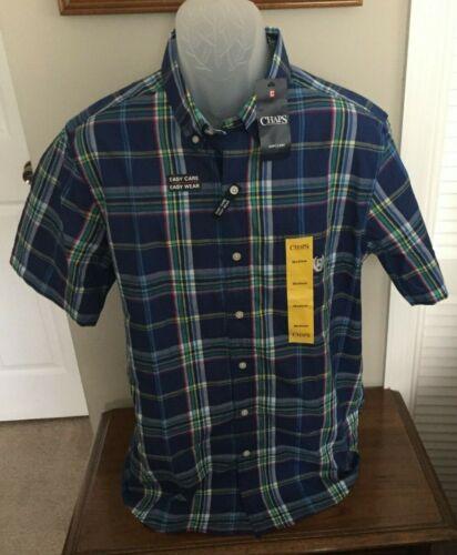 Chaps Menw Blue L or XL NWT Plaid Button Front Short Sleeve Shirt Size M