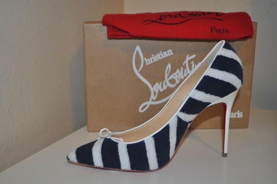 NIB Christian Louboutin SPA EPONGE Bow Pointy Toe Pump shoes Navy White 38.5  8.5