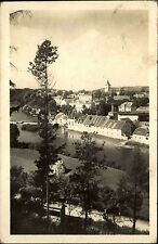Kácov nad Sázavou Chequia S/W postal 1950 mirada sobre el río vista parcial