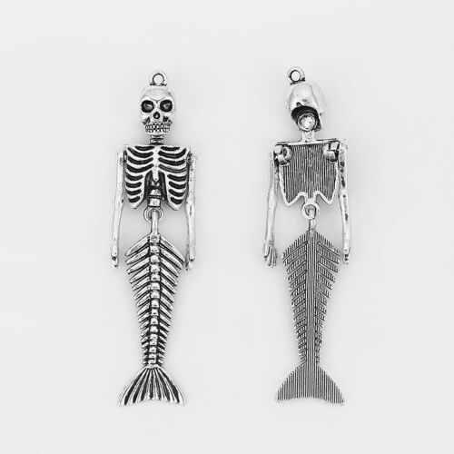 3Pcs Large Mermaid Skeleton Charms Antique Silver Tone Bendable Jewelry Findings