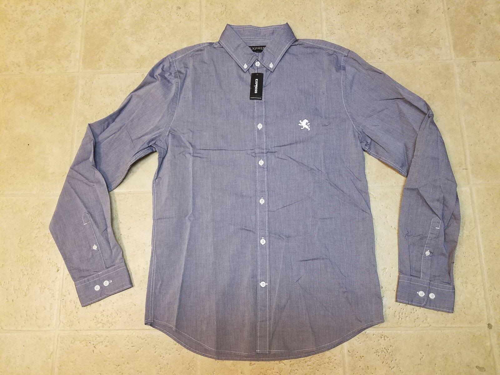48549e81 Express Buttondown bluee Small Logo Shirt Size M New Men's Medium ...