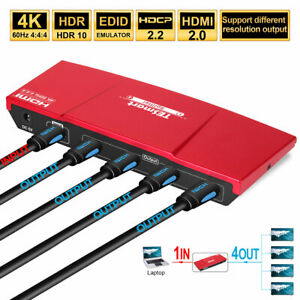 TESmart-1X4-HDMI-Splitter-Repeater-Amplifie-Support-1-in-4-out-4K-60Hz