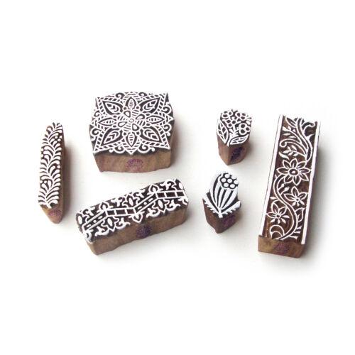 Asian Designer Wood Print Stamps DIY Fabric Textile Paper Printing Blocks