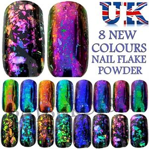 Chameleon nail flakes nails powder mirror chrome 9 colours broken glass sequins ebay - Polvere specchio unghie ...