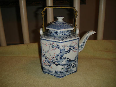 Superb Chinese Or Japanese Blue & White Teapot-Metal Handle-Tree Patterns-Lovely