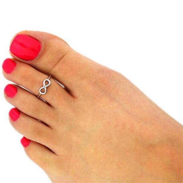 Fashion Women Simple Retro Infinity Design Adjustable Toe Ring Foot Jewelry Cfj