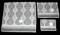3 Bella Lux Grey White Medallion Scroll Stripes Bath Hand Fingertip Towels