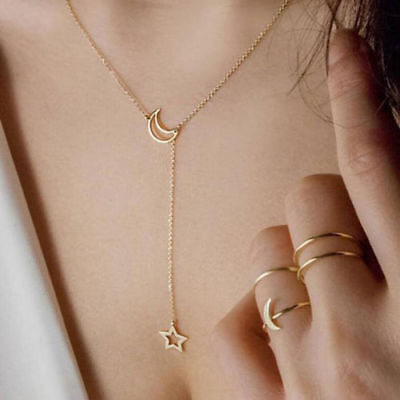 Star /& Moon Choker Necklace Chain Gypsy Boho Hippie Jewelry Gold or Silver