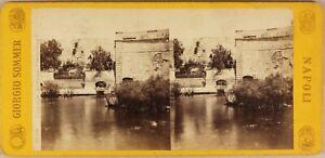 Italia-Syracuse-Fontana-Aretusa-c1865-Foto-Sommer-Stereo-Vintage-Albumina