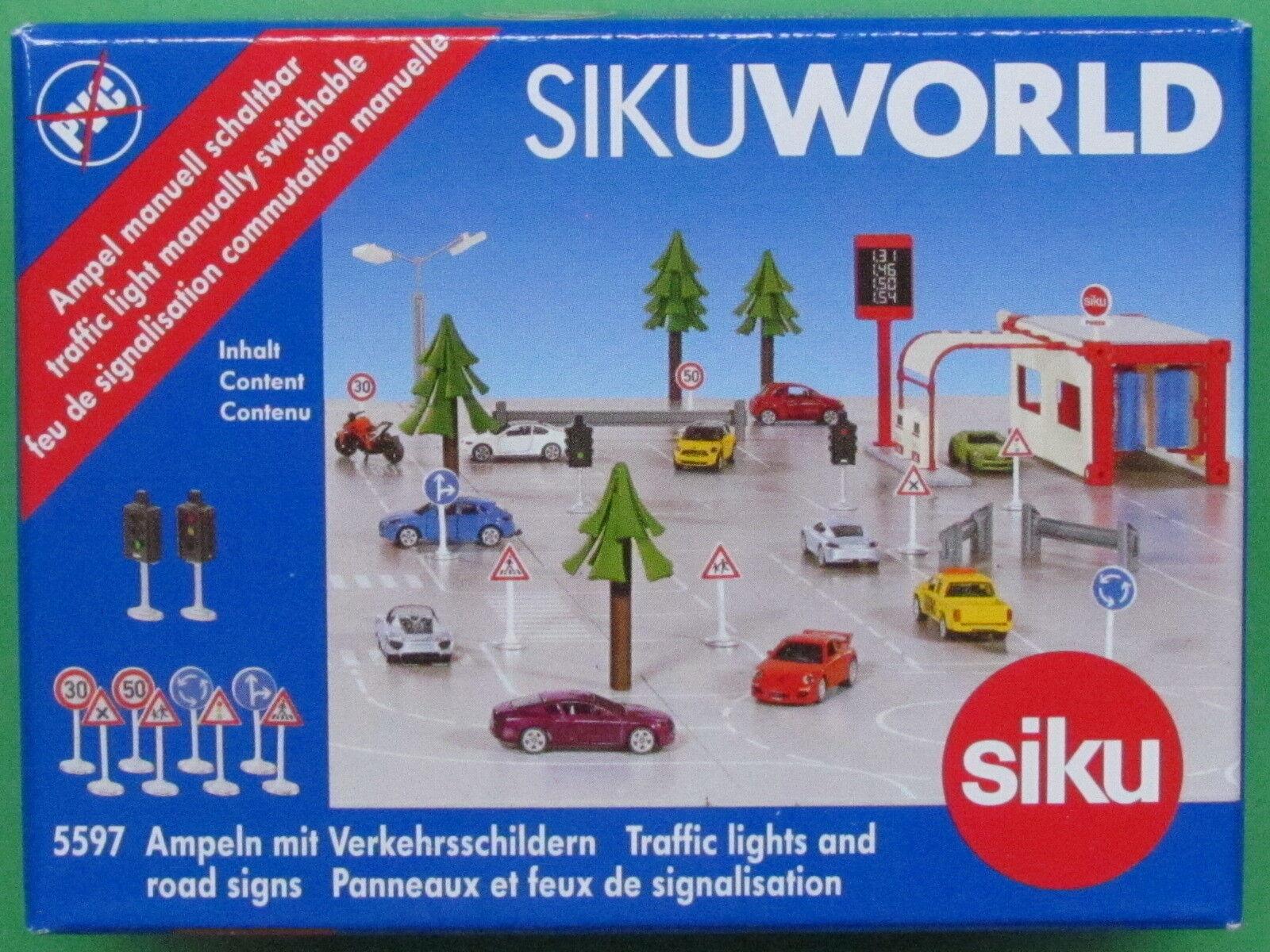 NEU OVP SIKU World 5597 Ampeln mit Verkehrsschildern
