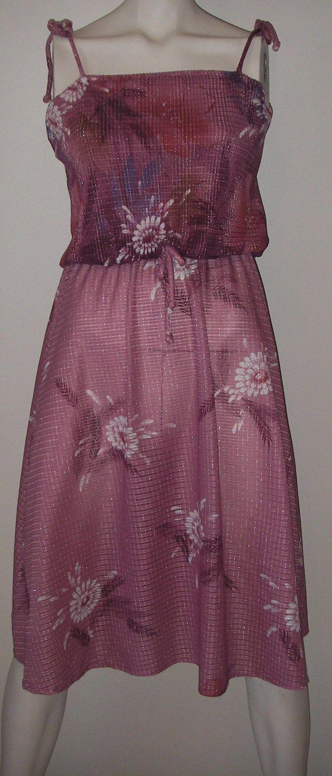 Vintage 70s Womens Clothing DRESS Pink Disco Spaghetti Straps Draped Bodice