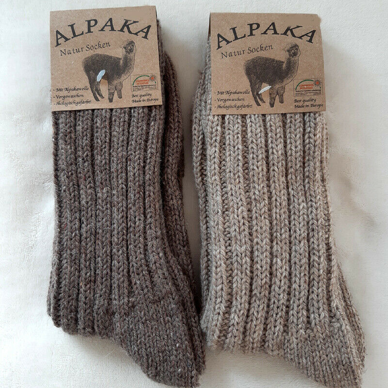 2 Paar Damen Socken dicke Wollsocken 40% Alpaka 52% Wolle braun beige 35 bis 42