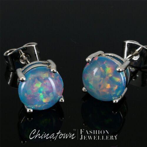 8 MM ROUND turquoise blue fire opal cabochon bijoux en argent simple Boucles d/'oreilles Clou