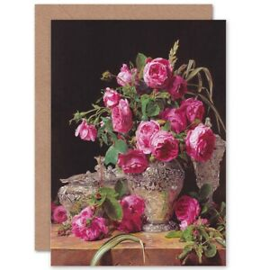 Painting-Still-Life-Waldmuller-Roses-Blank-Greeting-Card-With-Envelope