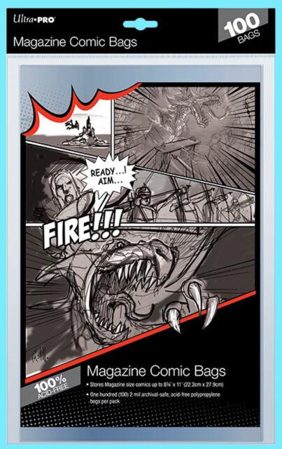 "100 ULTRA PRO MAGAZINE SIZE Comic Storage BAGS New 8-3/4"" x 11"" Archival Holders"