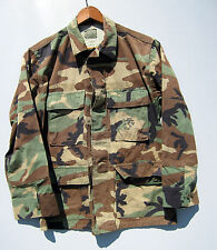 Vintage Camo Jacket Shirt Camouflage Combat Military Bdu Woodland Short Small