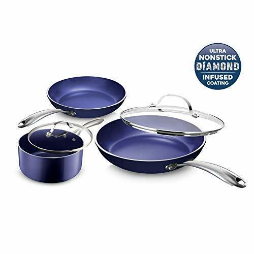 Granite Stone Diamond Cookware Set Nonstick Stainless 5 Piece Blue