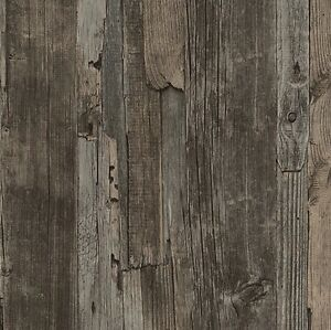 French Provincial Rustic Timber Wood Effect Wallpaper in ...