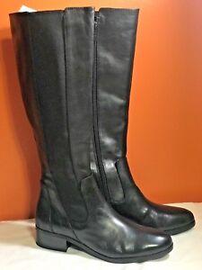 Halston schwarz GoROT Tall Shaft Stiefel Naomi Stacked Heel Side ... Zipper ... Side cd6c9e